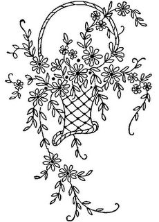 several free flower basket embroidery patterns
