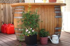 Wine Barrel Bar. No base but appears sturdy.
