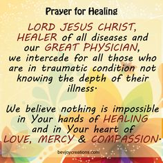 We believe nothing is impossible in Your hands of power, in Your hands of healing and in Your heart of love, mercy and compassion.