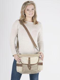 Sunsa Damen Vintage Tasche Umhängetasche Schultertasche aus Canvas mit Leder