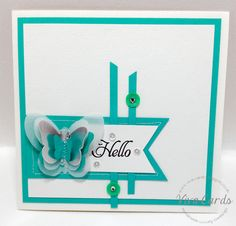 """319 - Handmade Card - """"Hello'    #Mint, #Butterflies, #Sequins,"""