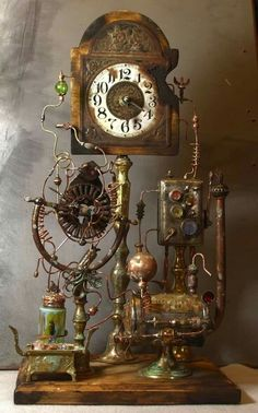 Steampunk furniture design ideas from cool to crazy. What do you think of Steampunk? What comes to mind is probably a cosplay girl in a leather corset and a circular skirt. The Steampunk furniture concep. Steampunk Kunst, Viktorianischer Steampunk, Steampunk Gadgets, Steampunk House, Steampunk Design, Steampunk Fashion, Steampunk Makeup, Steampunk Bedroom, Steampunk Drawing
