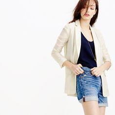 """A summer essential: the perfect broken-in boyfriend shorts. We gave this pair a slightly darker wash and cut it with a woman's body in mind, so although the vibe may have been borrowed from the boys, it'll look<i> </i>way<i> </i>better on you. <ul><li>Sits at hip.</li><li>4"""" inseam.</li><li>Cotton.</li><li>Button fly.</li><li>Traditional 5-pocket styling.</li><li>Cuffed.</li><li>Machine wash.</li><li>Import.</li></ul>"""