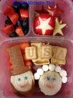 Happy Presidents Day Bento Lunch ~ #Easylunchboxes, #PeanutFree, #NutFree, #SunButter, #Lunchbox