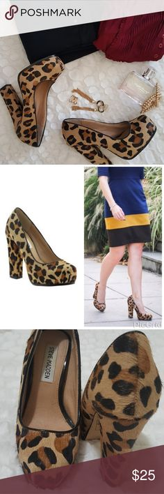 Steve Madden Sarrina Chunky Pump Leopard print chunky heal. In EUC, most wear is on bottom of sole. It is a size 5.5 but runs a bit narrow,  would fit a narrow 5.5 or a 5. Steve Madden Shoes Heels