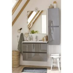 Meuble sous-vasque Polly + miroir gris, 2 tiroirs