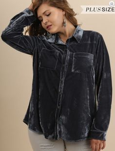 f7bab12327dba Steel Blue Velvet Long Sleeve button up - reg and plus