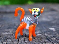 Glass cat orange figurine cat animals glass cat miniature art glass orange cat toy murano cat animals tiny small cat figure glass sculpture