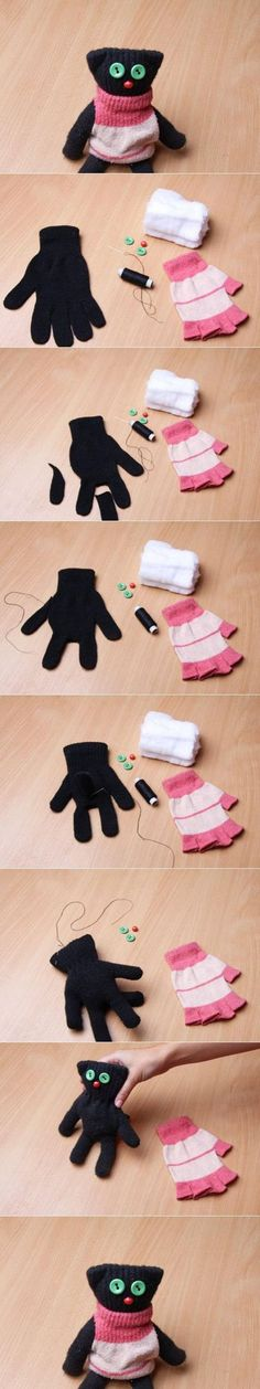 DIY Gloves Doll, great idea for that spare glove! Sock Crafts, Fabric Crafts, Fun Crafts, Sewing Crafts, Sewing Projects, Craft Projects, Crafts For Kids, Arts And Crafts, Sock Toys