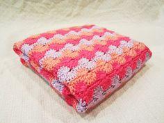 Pink crochet baby blanket - via Etsy.  Love the colors & pattern!