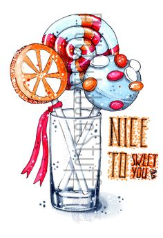 Nice to sweet you - Hand-Drawn Sweets in a Glass by PrettylittleStuff Dessert Illustration, Balloon Illustration, Watercolor Illustration, Art Drawings For Kids, Art Drawings Sketches, Drawing Art, Copic Marker Art, Hand Painted Sarees, Watercolor Paintings For Beginners