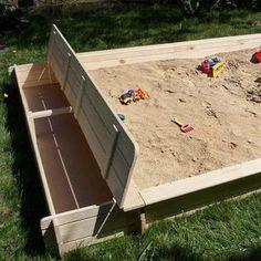 Zandbak met opbergkoffer als zitbank - GRATIS levering