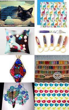 When cat watches at this colorful world by Marie ArtCollection on Etsy--Pinned with TreasuryPin.com