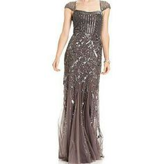 Sequin evening gown by Adrianna Papell Gorgeous 30s style sequin gown with cap sleeves. NWT. Gatsby style.   Graphite (grey violet hues) color.  All sequins/beading are in tact. Extra bag of beads and sequins attached. No flaws. Size 10.   I was going to have it taken in and never did.   Retailed at over $300.  Great, reduced price for NEW gown!!!  Note: Photos taken through Posh so the lighting in this room makes the coloring look different. The modeled photo is accurate!!!! I will try to…