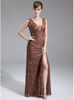 A-Line/Princess V-neck Floor-Length Beading Sequins Split Front Zipper Up Regular Straps Sleeveless No Brown Spring Summer General Plus Lace Mother of the Bride Dress