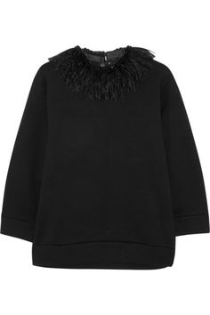 NO. 21 Feather-trimmed cotton-jersey sweatshirt