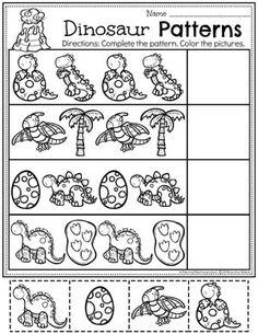 Patterns Worksheets for a Preschool Dinosaur Theme #dinosaurworksheets #preschoolworksheets #preschool #dinosaurs