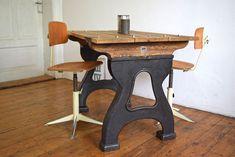 Details Zu Tisch Alt Antik Arbeitstisch ArtDeco Esstisch Holz Metall Loft  Viereckig Vintage
