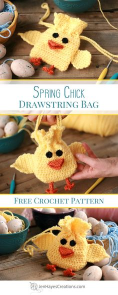 Spring Chick Crochet Drawstring Bag | A Free Pattern by Jen Hayes Creations