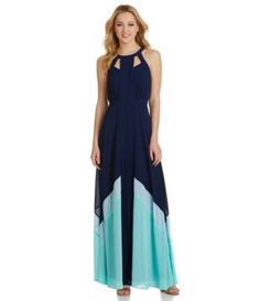 5/17/15 Buy at Dillards Colorblocking   Brand/Designer: Adelyn Rae Material: Polyester /Spandex Dress Length: Maxi-Dress Shoulder: Sleeveless Neckline: Round Neck Embellishments: Colorblocking Cutout Fitted Lined Pleated Closure/Back: Button Closure Back Zipper Size Category: Adult Hand Wash