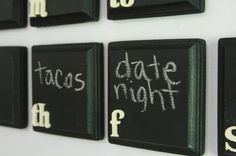 i love this chalkboard calendar idea. wooden blocks painted with chalkboard paint. i've always wanted a chalk board wall.but i think this will do! Do It Yourself Furniture, Do It Yourself Home, Mason Jars, Chalkboard Paint, Chalkboard Calendar, Chalkboard Fridge, Paint Calendar, Chalkboard Ideas, Chalk Paint