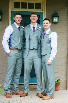 Groom groomsmen gray suit purple. Brown shoes