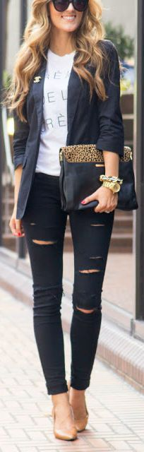 Distressed denim + blazer.