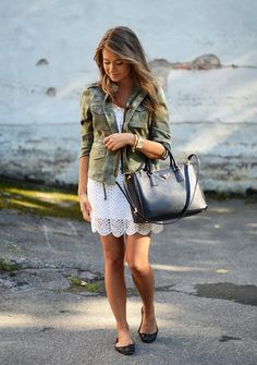 camo coat & crochet dress & prada bag