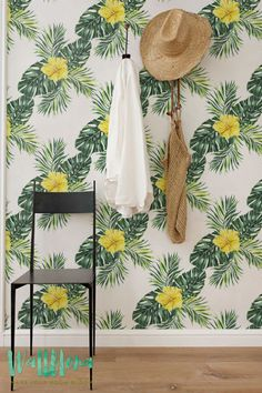 Hibiscus and Monstera Leaves Wallpaper   Removable Wallpaper   Self Adhesive Wallpaper   Temporary Wallpaper   Wall Sticker   Wall Decal