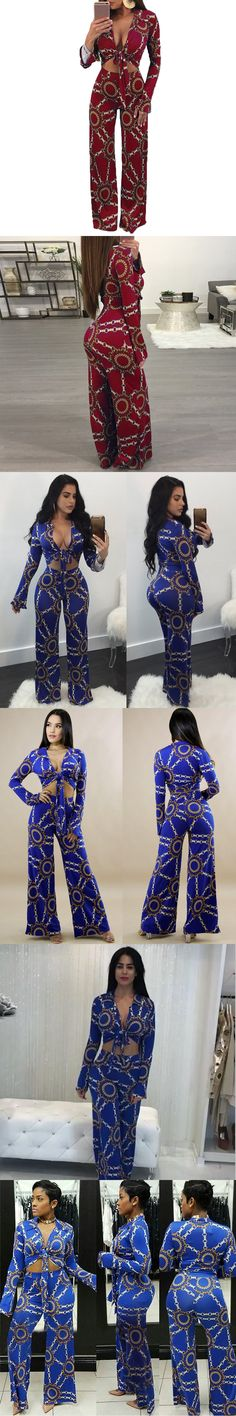 Deep V-neck Bow Tie knot Crop Top And Pants 2 Piece Set Printed Evening Party Two Piece Jumpsuit Women Clubwear Clothing Suit