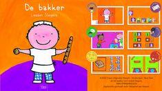Digibordles bij het prentenboek 'De Bakker' van Liesbet Slegersspel 1: Woordenschat spel 2: Logische volgorde: het werk van de bakker. Wat moet de bakker doen als hij brood gaat bakken? spel 3: Visuele waarneming: in de winkel, wat is er verkocht? spel 4: Beginklank: de bakker bakt brood. spel 5: Rekenen: hoeveel gebakjes in een doos? spel 6: Wegen: in welke rode schaal doet de bakker het meeste meel?
