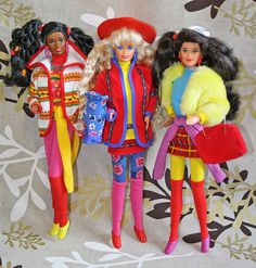 Barbie Benetton Christie Barbie Kira by 80Barbie collector, via Flickr. Geez, the middle doll was one of my first barbies! A gift when I was 6.