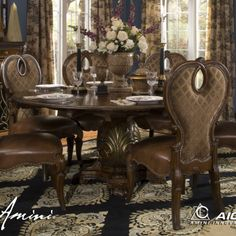 The Sovereign Round Pedestal Dining Table | AICO | Home Gallery Stores