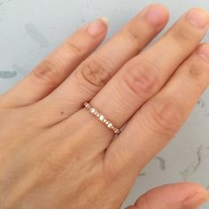 Vintage Inspired Diamond Wedding Band in 14k Rose Gold for