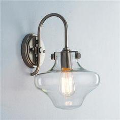 "Modern clear schoolhouse light; $169; 100 watt medium base lamp required. (13""Hx8.75""Wx10""D) 4.75"" round backplate"
