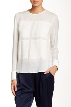 Long Sleeve Contrast Patch Silk Blouse