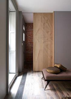 porte coulissante à galandage en bois
