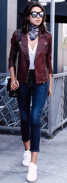 #fall #trends | Burgundy Biker Jacket + Basics