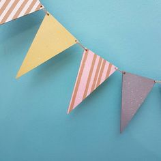 Country Living Spring Fair - Novasol wooden bunting spray painted with Pinty Plus chalk paint spray, great idea for fast party decorations or gifts for children Spray Chalk, Chalk Paint, Spring Fair, Wooden Shapes, Wooden Garden, Country Living, Bunting, Decorative Items, Gifts For Kids