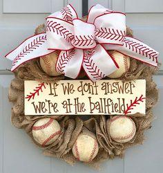 Baseball Softball Wreath, If We Don't Answer We're At The Ballfield Baseball and Softball Burlap Wreath, Sports Wreath - Decor Design Baseball Burlap Wreath, Softball Wreath, Baseball Crafts, Burlap Bows, Burlap Wreaths, Baseball Mom, Yarn Wreaths, Baseball Stuff, Baseball Season