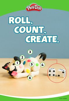 Turning counting and creating into a game with a couple cans of Play-Doh compound and a set of dice! Have your kids start by making their own patterned animal Play-Doh creation, such as a Dalmatian, tiger or giraffe, minus the spots. Then roll the dice, and add the pattern accordingly!