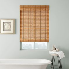 Walls the color of sea glass, and shades like driftwood. Bathroom Window Treatments, Bathroom Blinds, Bathroom Windows, Woven Wood Shades, Bamboo Shades, Large Windows, Wooden Flooring, Window Coverings, Driftwood