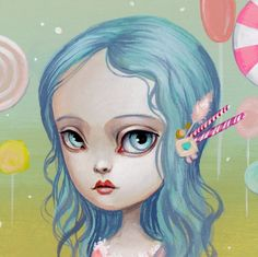 Mab Graves - Her Waifs and Strays — Lolita Lollipop - original miniature painting by Mab Graves. Art style DIY inspiration. Please choose cruelty free vegan art supplies