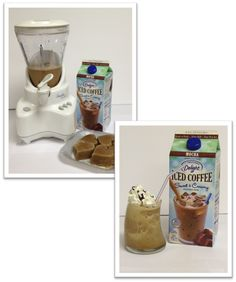 International Delight Mocha Ice Coffee Frappuccino:  Freeze International Delight Ice Coffee Mocha into ice cubes.  Put frozen ID Ice Coffee Mocha Ice cubes in blender and add ¼ cup of ID Mocha Ice Coffee and blend.  Pour in a glass and top with whip topping and drizzle with chocolate syrup.  I'd use the light version that only has 100 calories per serving.