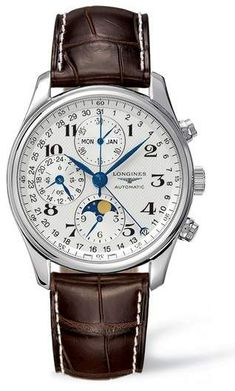 LONGINES Master Automatic Chronograph Leather Strap Watch, 40mm