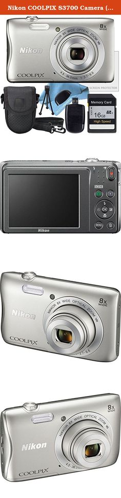 Nikon COOLPIX S3700 Camera ( White Box Packaging ), Camera Case, 16GB SD Memory Card, Table Top Tripod, Lens Cleaning Kit and LCD Screen protector, USB SD Card Reader. The silver COOLPIX S3700 Digital Camera from Nikon is a compact point-and-shoot camera with a 20.1MP image sensor providing high-resolution imagery. Its built-in NIKKOR lens offers 8x optical zoom with a focal range of 4.5 to 36mm and a variable aperture range of f/3.7 to f/6.6. For even further reach, the 16x Dynamic Fine...