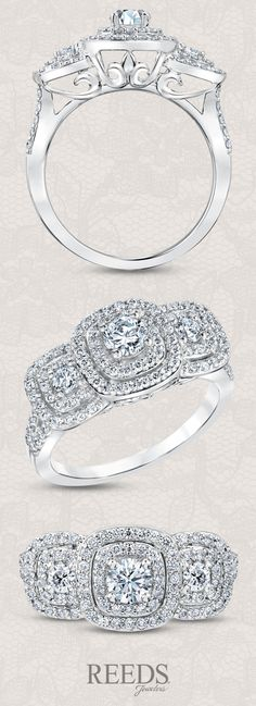 Forever Beautiful Three-Stone Double Frame Diamond Engagement Ring 1ctw