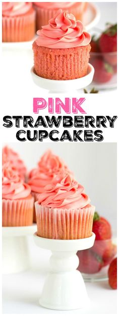Pink Strawberry Cupcakes recipe topped with the best buttercream EVER. Be careful: the cupcake batter tastes like strawberry ice cream! Pretty pink cupcakes for special occasions! Gourmet Cupcakes, 12 Cupcakes, Cupcake Cakes, Vanilla Cupcakes, Mocha Cupcakes, Velvet Cupcakes, Easter Cupcakes, Flower Cupcakes, Lemon Cupcakes