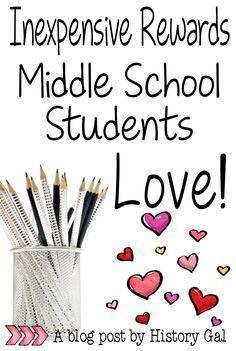 Ten inexpensive rewards for your middle school class. #byhistorygal #teachingtips #teachingmiddleschool
