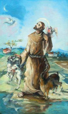 São Francisco de Assis, 1982 Jenner Augusto ( Brasil, 1924-2003) óleo sobre tela, 62 x 37 cm - - São Francisco - - Eduarda Duvivier - Por que não disse às feras pra não serem bravas? Por que não d...